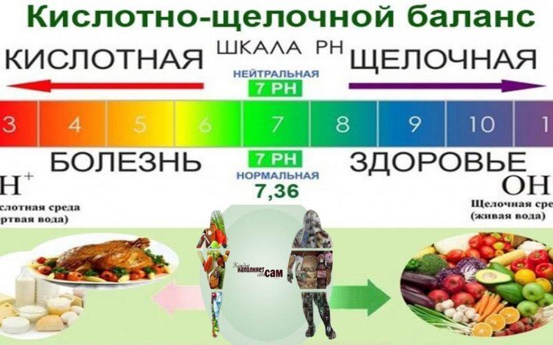 продукты окисляют и ощелачивают организм