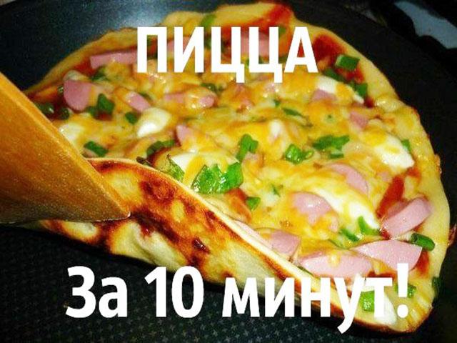 Вкусная пицца на сковороде: ингредиенты, приготовление.